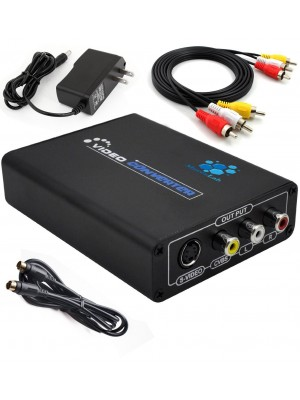 1080P HDMI to Composite 3RCA AV + S-Video R/L Audio Video Converter Adapter Scaler 720P 1080P Work with PS2 PS3 Xbox HDTV DVD TV STB Blue-Ray (HDMI to Composite 3RCA AV + S-Video)
