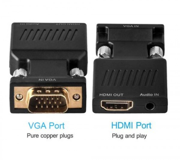 Vga To Hdmi Adapter With Audio 1080p Vga Male To Hdmi